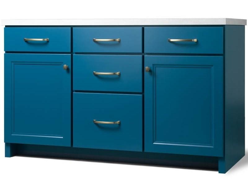 Custom blue bathroom vanity cabinet