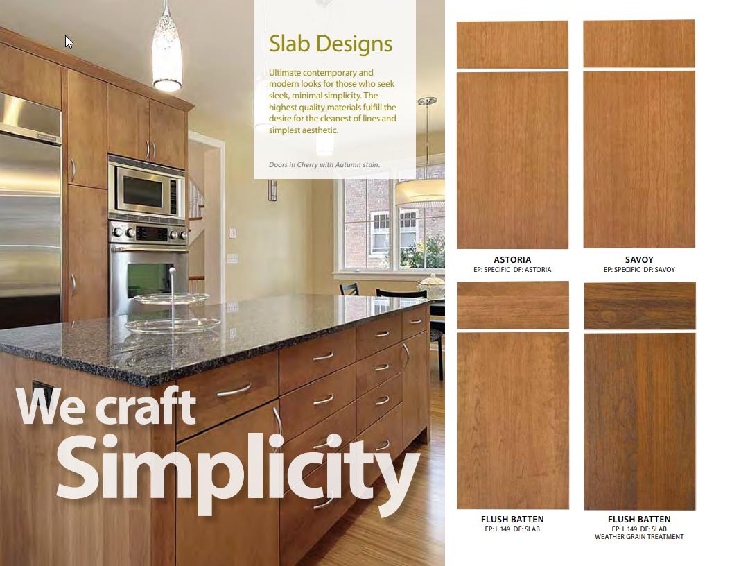 Slab design cabinet doors