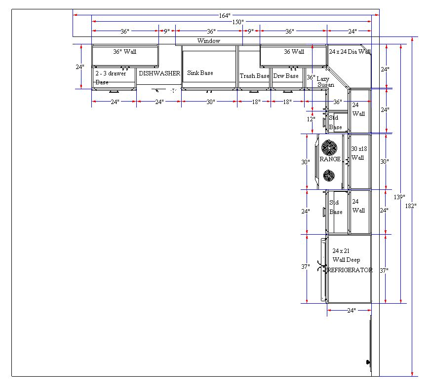 L-Shaped Kitchen Floor Plan