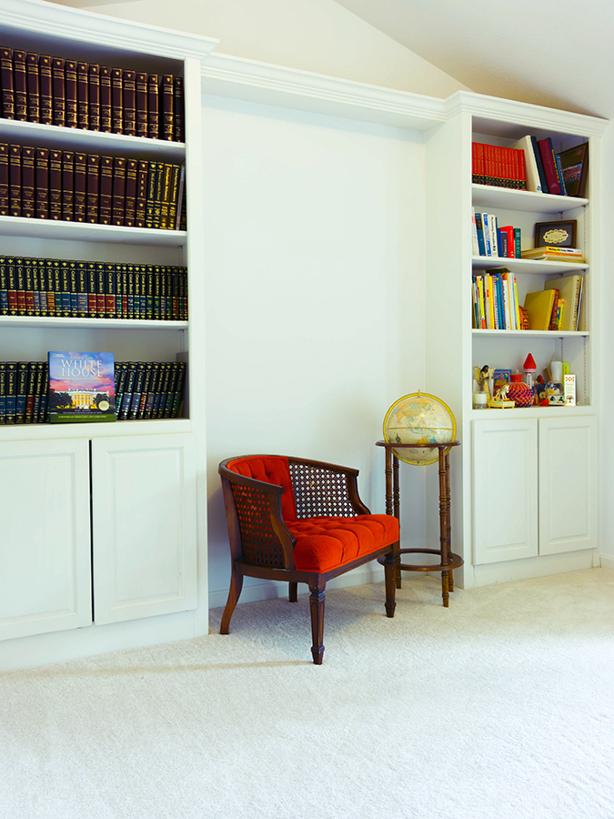 Framed White Office Cabinets with Bookshelves