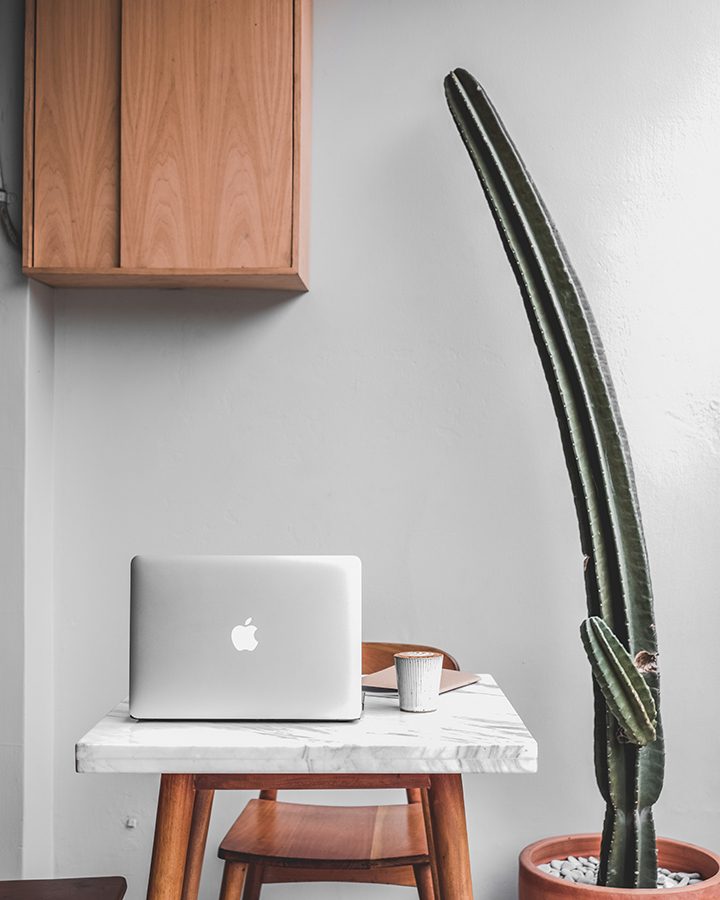 Simple cabinet for working from home with your laptop