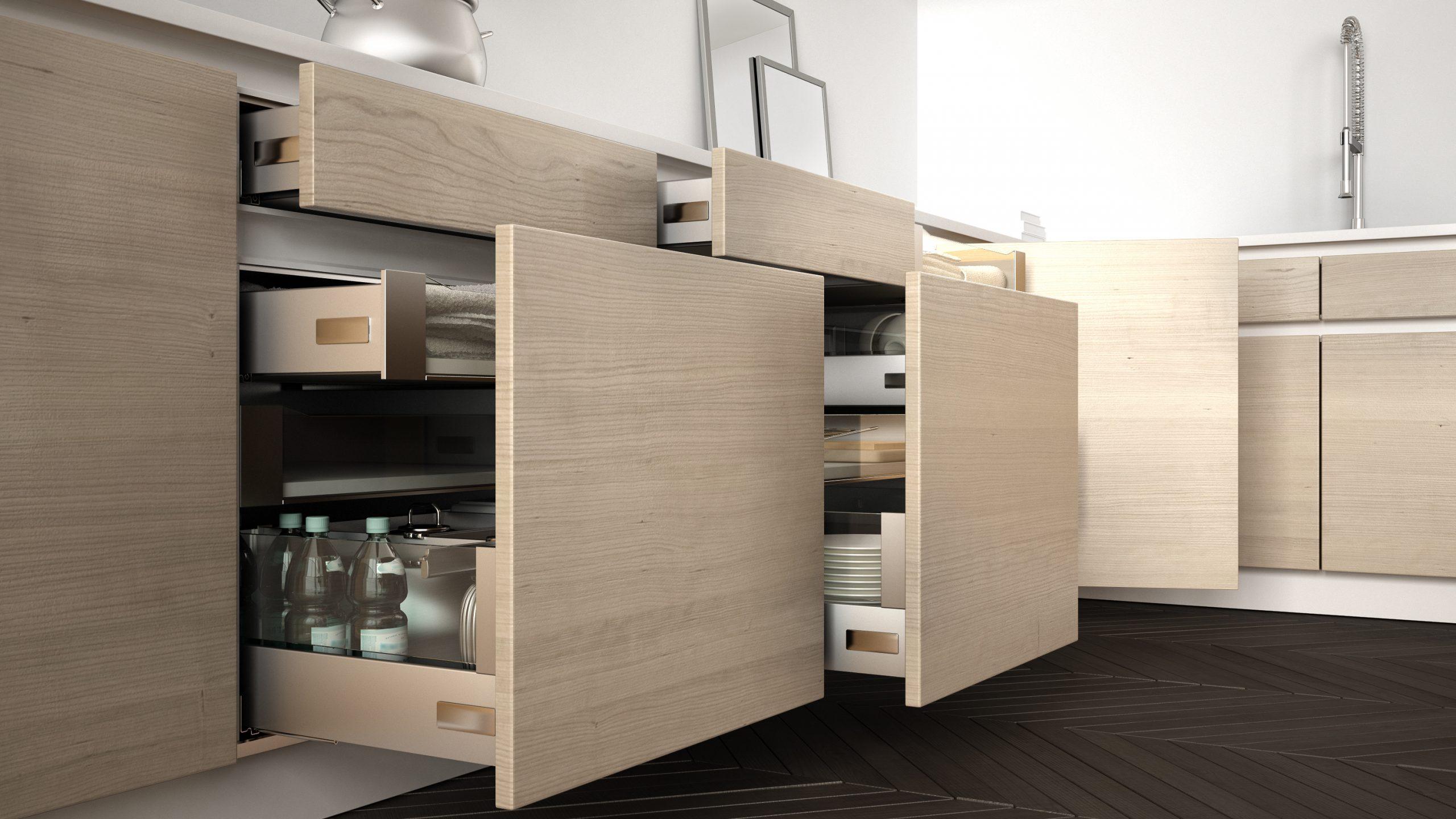 European kitchen cabinets organized clean look